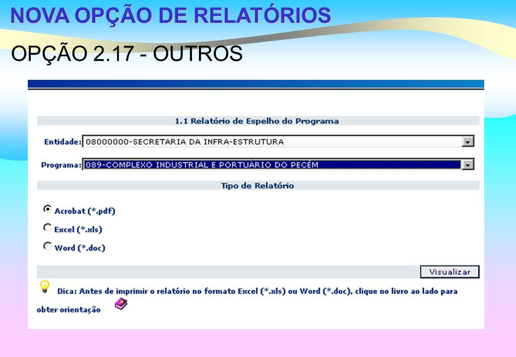 NOVA OPÇÃO DE RELATÓRIOS OPÇÃO 2.17 - OUTROS