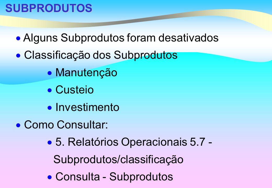 SUBPRODUTOS Alguns Subprodutos foram desativados Classificação dos Subprodutos Manutenção Custeio Investimento Como Consultar: 5.