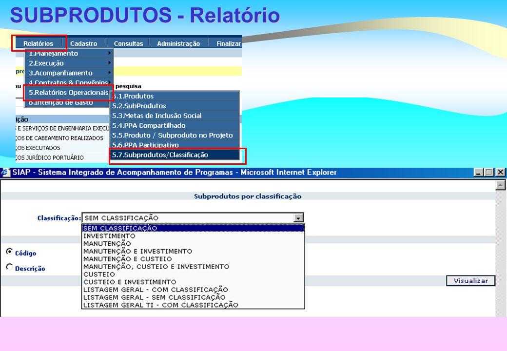 SUBPRODUTOS - Relatório