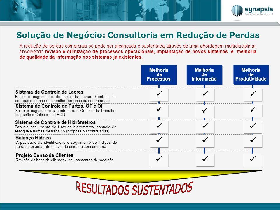 Melhoria de Processos Melhoria de Produtividade Melhoria de Informação Projeto Censo de Clientes Revisão da base de clientes e equipamentos de medição