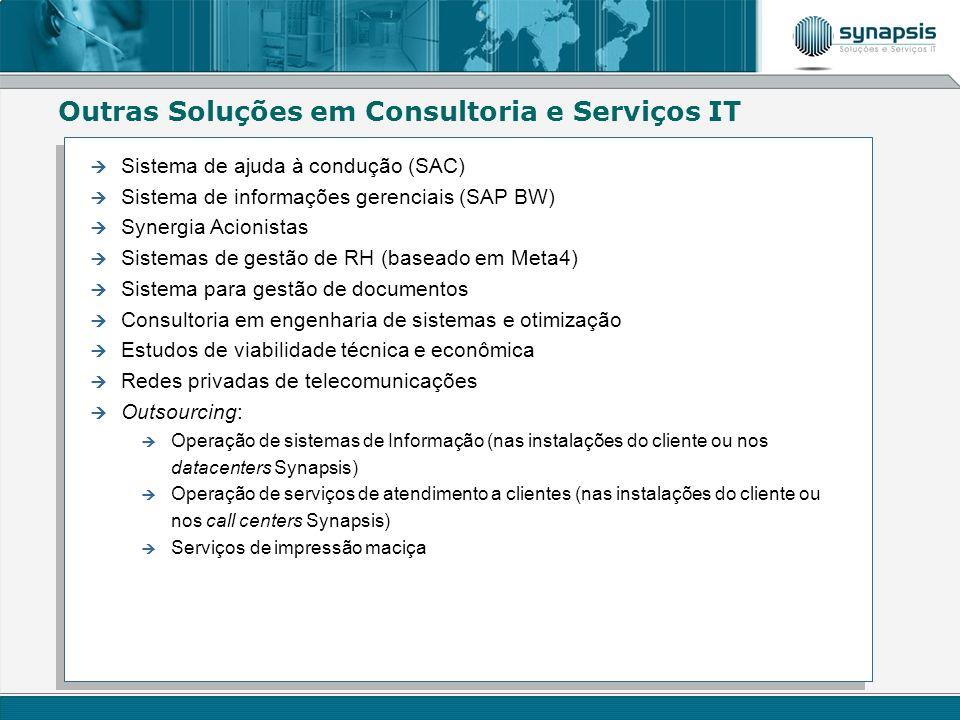 Outras Soluções em Consultoria e Serviços IT Sistema de ajuda à condução (SAC) Sistema de informações gerenciais (SAP BW) Synergia Acionistas Sistemas