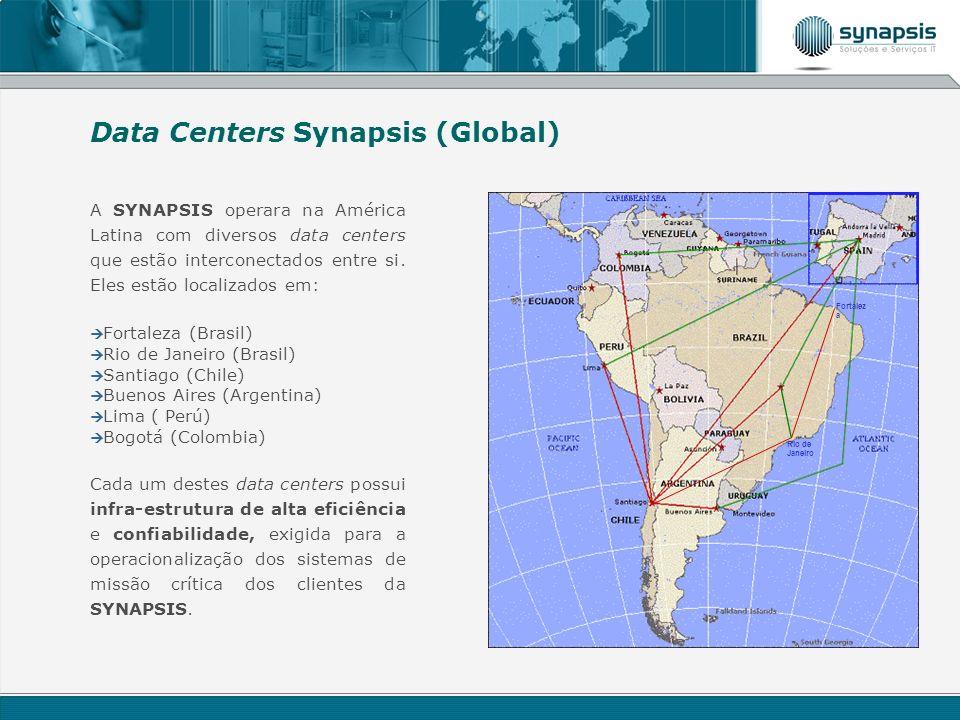 A SYNAPSIS operara na América Latina com diversos data centers que estão interconectados entre si. Eles estão localizados em: Fortaleza (Brasil) Rio d