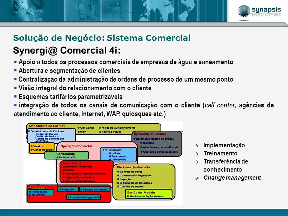 Solução de Negócio: Sistema Comercial Synergi@ Comercial 4i: Apoio a todos os processos comerciais de empresas de água e saneamento Abertura e segment