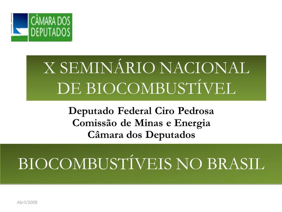 Deputado Federal Ciro Pedrosa Comissão de Minas e Energia Câmara dos Deputados BIOCOMBUSTÍVEIS NO BRASIL Abril/2009 X SEMINÁRIO NACIONAL DE BIOCOMBUSTÍVEL