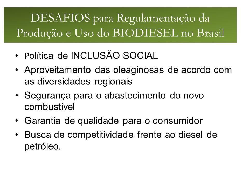 DESAFIOS para Regulamentação da Produção e Uso do BIODIESEL no Brasil P olítica de INCLUSÃO SOCIAL Aproveitamento das oleaginosas de acordo com as diversidades regionais Segurança para o abastecimento do novo combustível Garantia de qualidade para o consumidor Busca de competitividade frente ao diesel de petróleo.