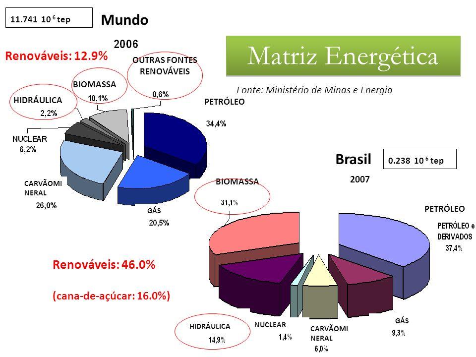 2007 Mundo Brasil 0.238 10 6 tep11.741 10 6 tep PETRÓLEO OUTRAS FONTES RENOVÁVEIS BIOMASSA HIDRÁULICA CARVÃOMI NERAL GÁS PETRÓLEO HIDRÁULICA CARVÃOMI NERAL GÁS BIOMASSA NUCLEAR Renováveis: 46.0% Renováveis: 12.9% (cana-de-açúcar: 16.0%) Matriz Energética Fonte: Ministério de Minas e Energia