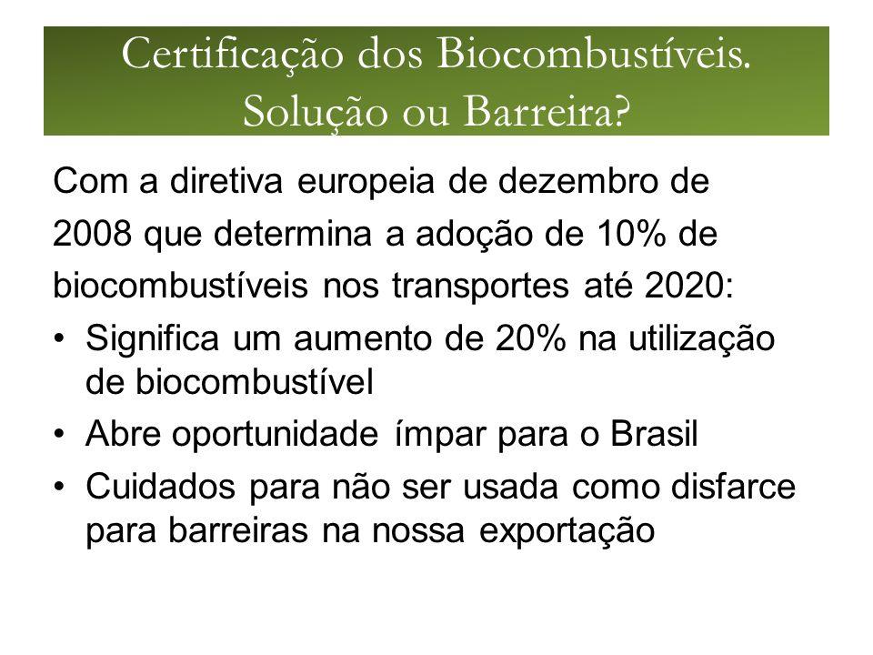 Certificação dos Biocombustíveis.Solução ou Barreira.