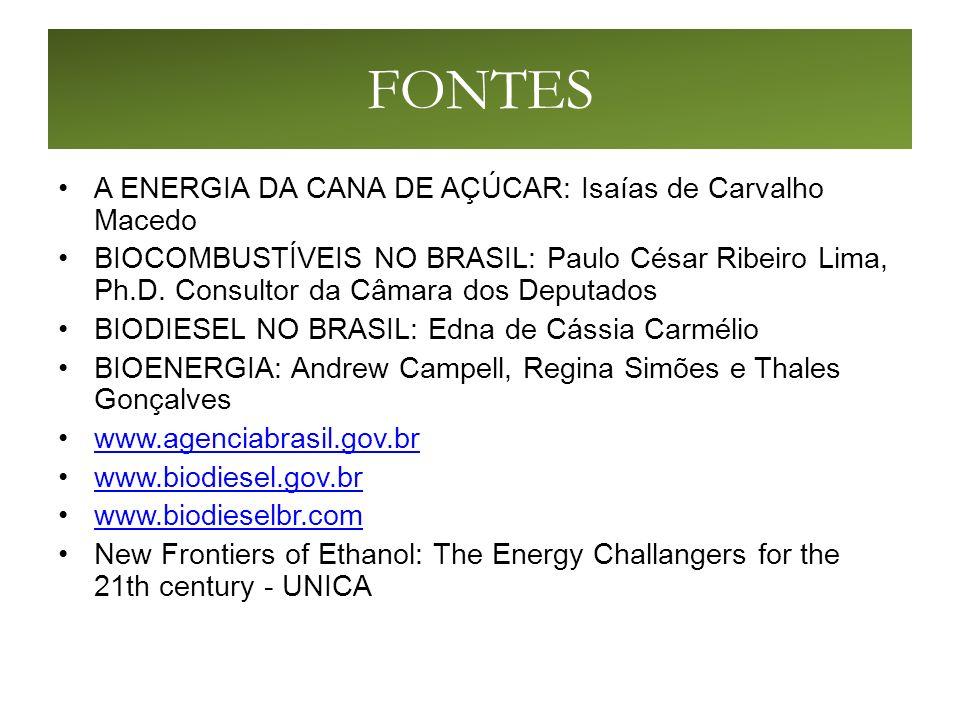 FONTES A ENERGIA DA CANA DE AÇÚCAR: Isaías de Carvalho Macedo BIOCOMBUSTÍVEIS NO BRASIL: Paulo César Ribeiro Lima, Ph.D.