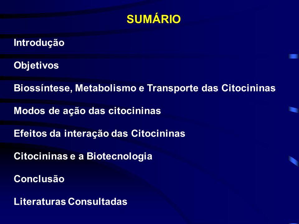 SUMÁRIO Introdução Objetivos Biossíntese, Metabolismo e Transporte das Citocininas Modos de ação das citocininas Efeitos da interação das Citocininas Citocininas e a Biotecnologia Conclusão Literaturas Consultadas