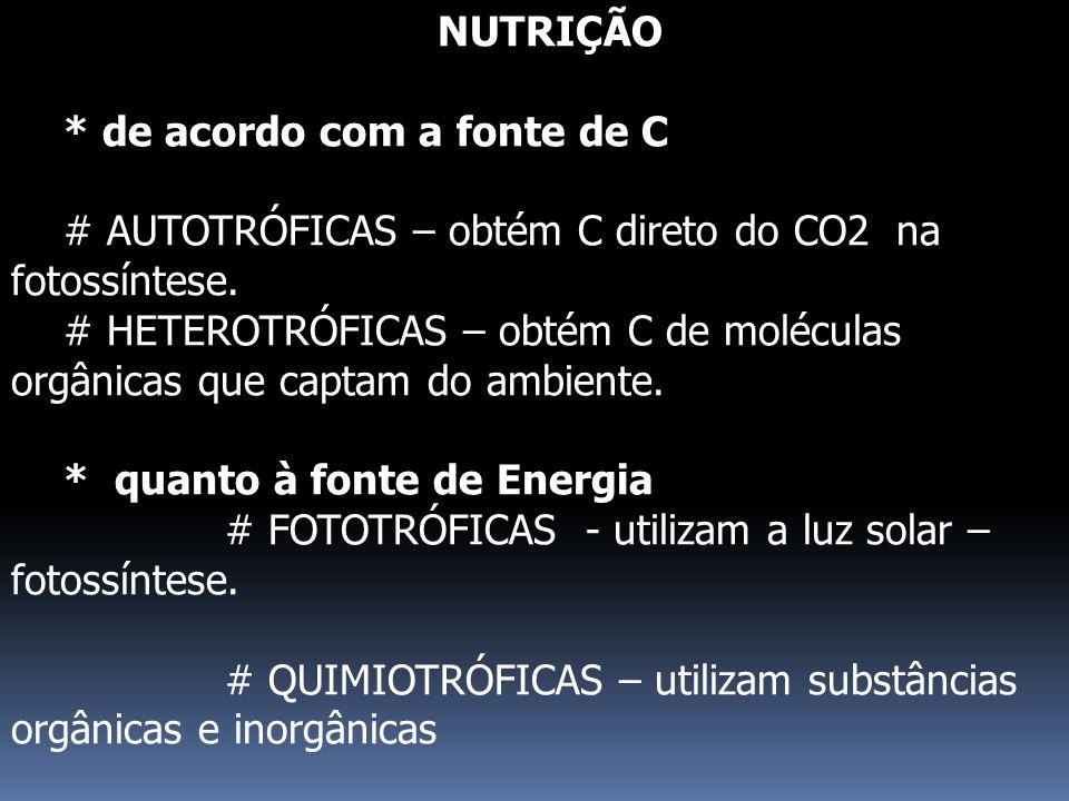 NUTRIÇÃO * de acordo com a fonte de C # AUTOTRÓFICAS – obtém C direto do CO2 na fotossíntese. # HETEROTRÓFICAS – obtém C de moléculas orgânicas que ca