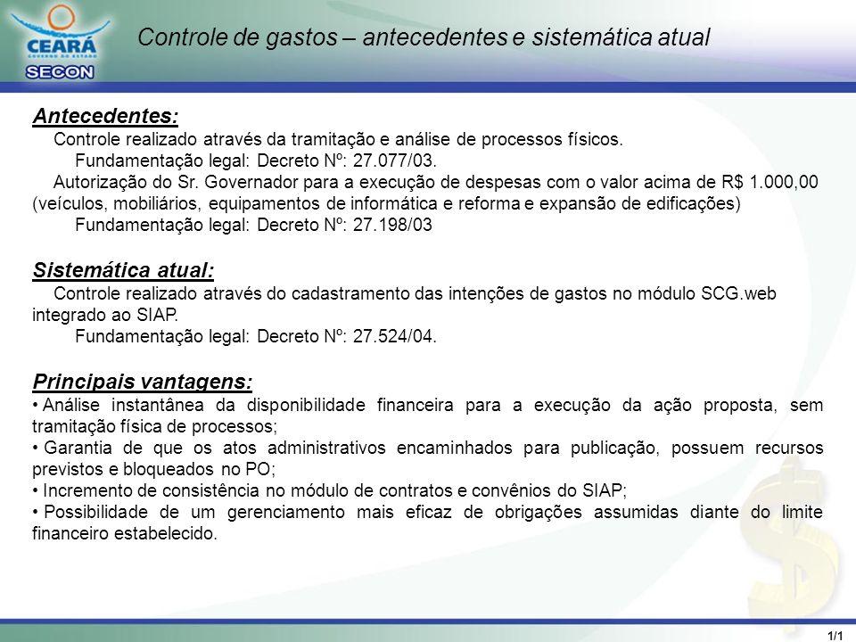1/1 Cadastramento da Intenção de Gastos no Sistema SCG.Web Áreas de abrangência: Todos os processos referentes a licitações, contratos e convênios acima do limite de dispensa de licitação.
