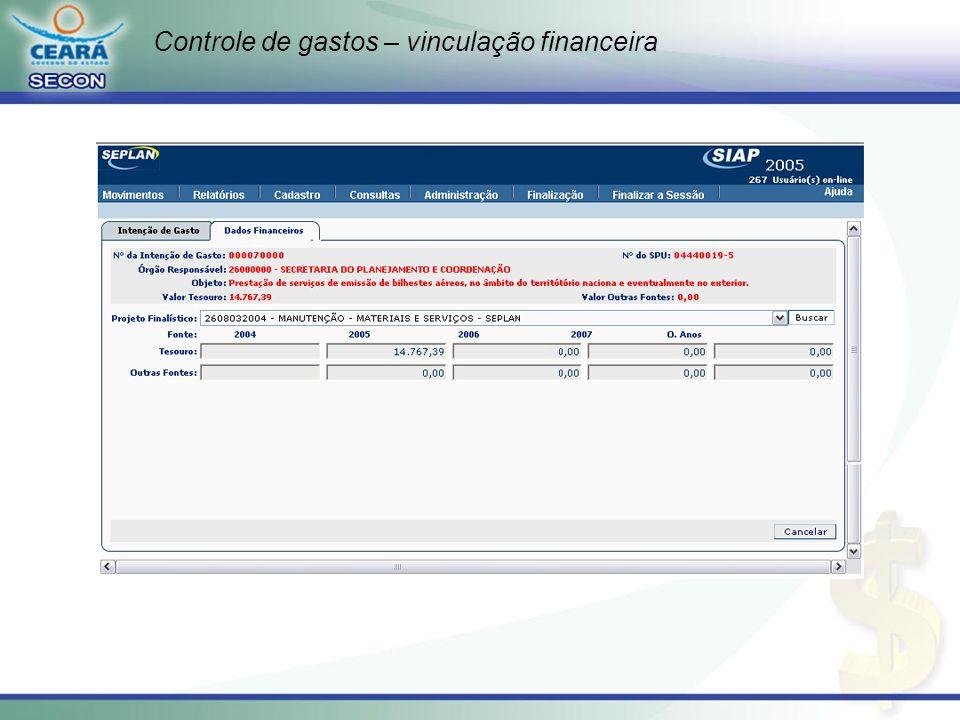 Controle de gastos – vinculação financeira