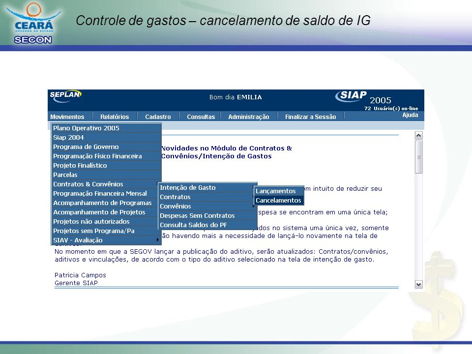 Controle de gastos – cancelamento de saldo de IG