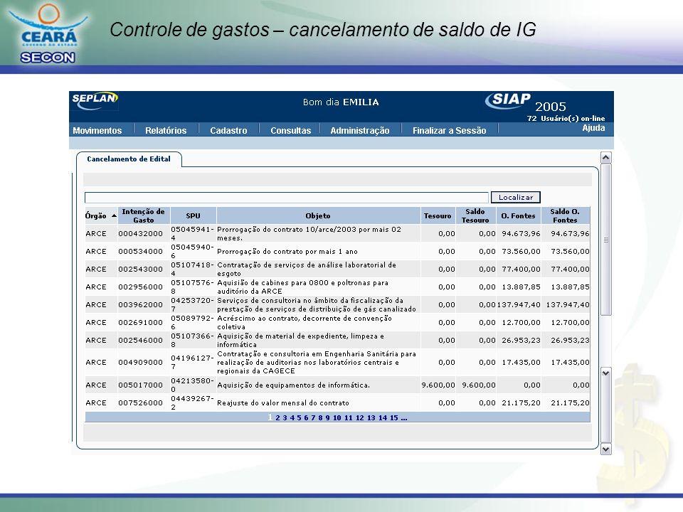 Controle de gastos – operacionalização do sistema