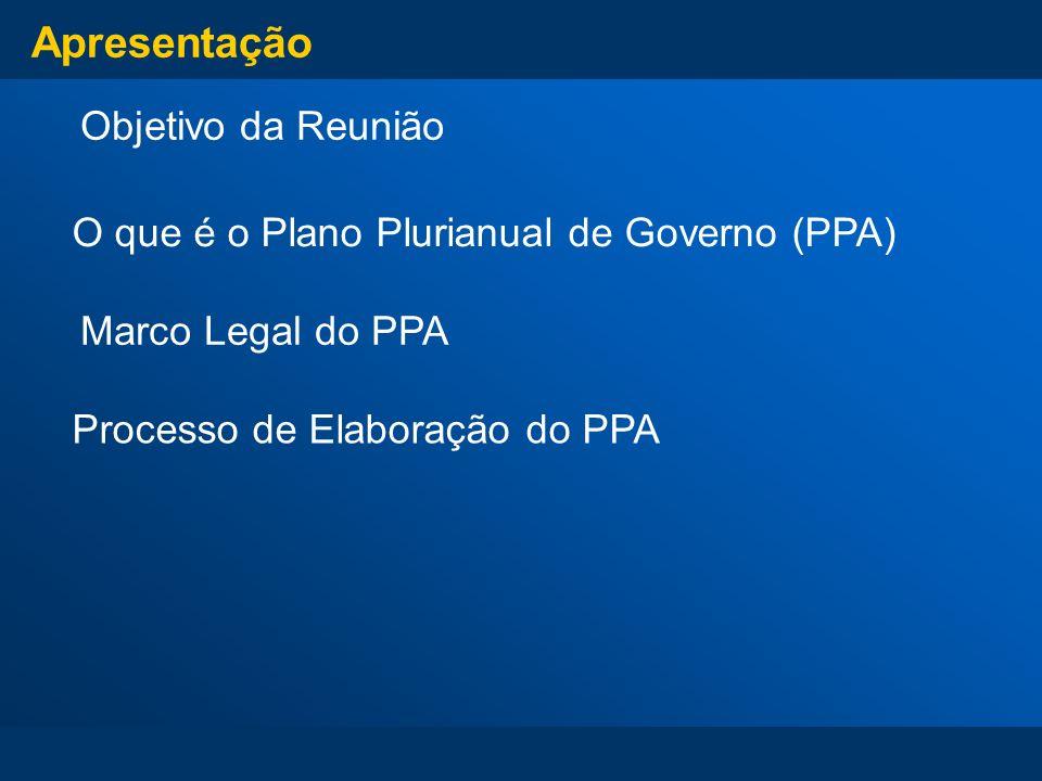 Apresentação Objetivo da Reunião Processo de Elaboração do PPA Marco Legal do PPA O que é o Plano Plurianual de Governo (PPA)