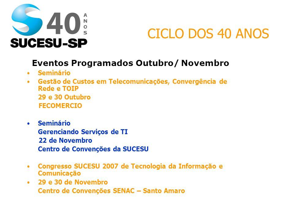 CICLO DOS 40 ANOS Eventos Programados Outubro/ Novembro Seminário Gestão de Custos em Telecomunicações, Convergência de Rede e TOIP 29 e 30 Outubro FE