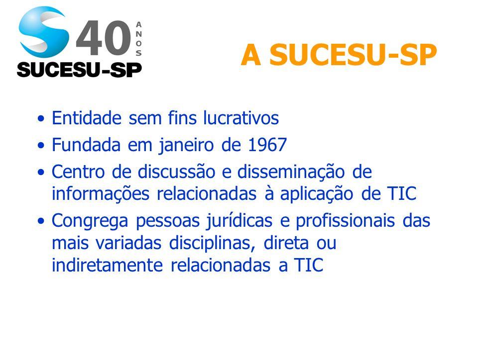 A SUCESU-SP Entidade sem fins lucrativos Fundada em janeiro de 1967 Centro de discussão e disseminação de informações relacionadas à aplicação de TIC Congrega pessoas jurídicas e profissionais das mais variadas disciplinas, direta ou indiretamente relacionadas a TIC