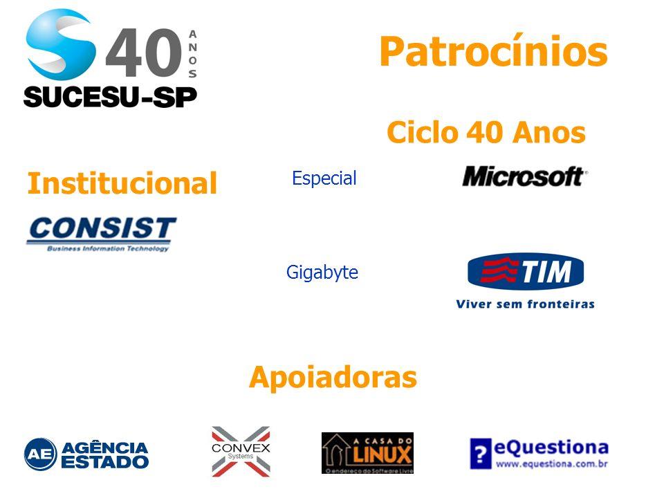 Patrocínios Apoiadoras Institucional Ciclo 40 Anos Especial Gigabyte
