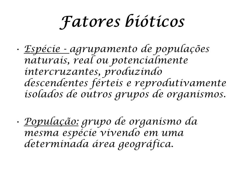 Fatores bióticos Espécie - agrupamento de populações naturais, real ou potencialmente intercruzantes, produzindo descendentes férteis e reprodutivamen