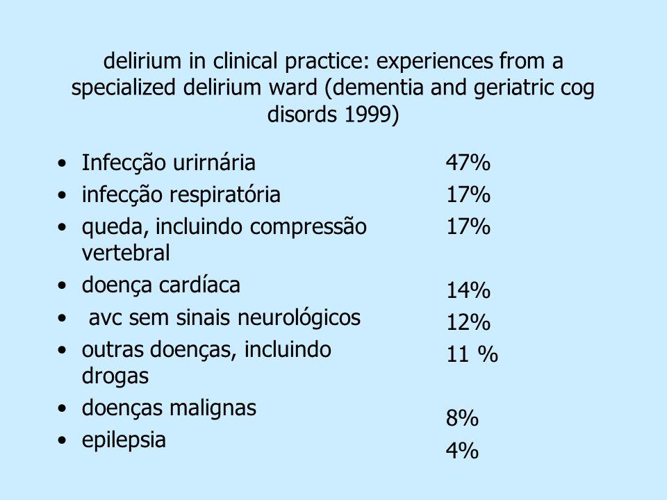 delirium in clinical practice: experiences from a specialized delirium ward (dementia and geriatric cog disords 1999) Infecção urirnária infecção resp