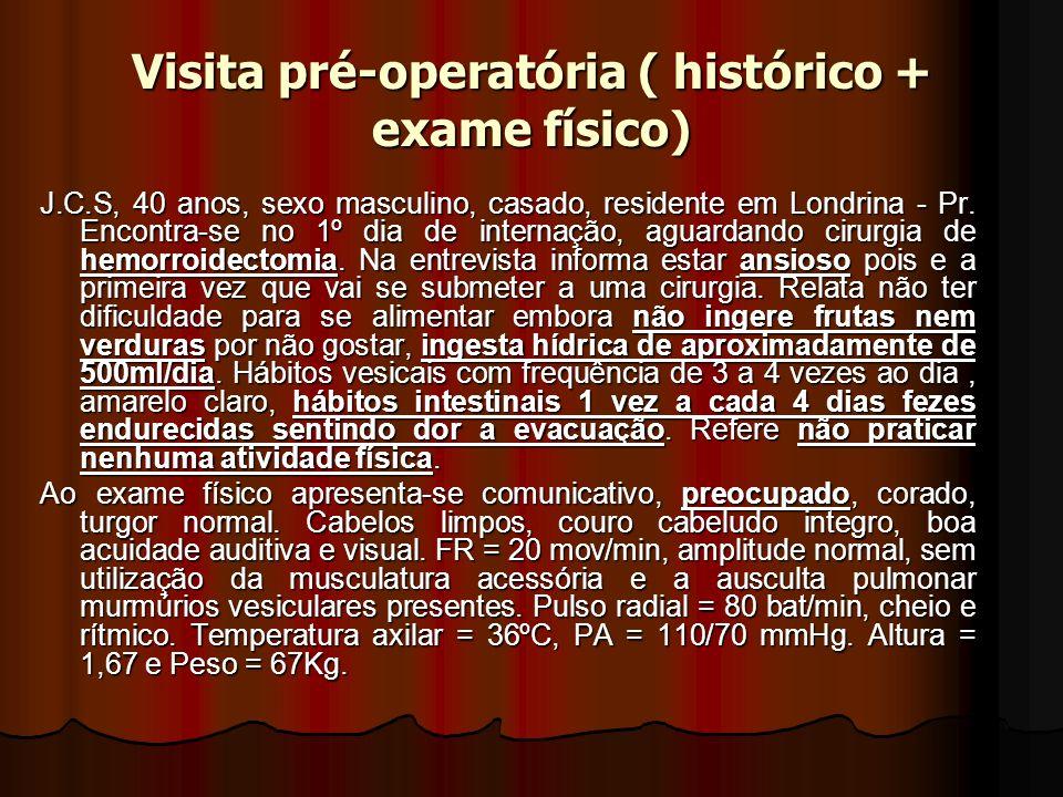 Visita pré-operatória ( histórico + exame físico) J.C.S, 40 anos, sexo masculino, casado, residente em Londrina - Pr. Encontra-se no 1º dia de interna
