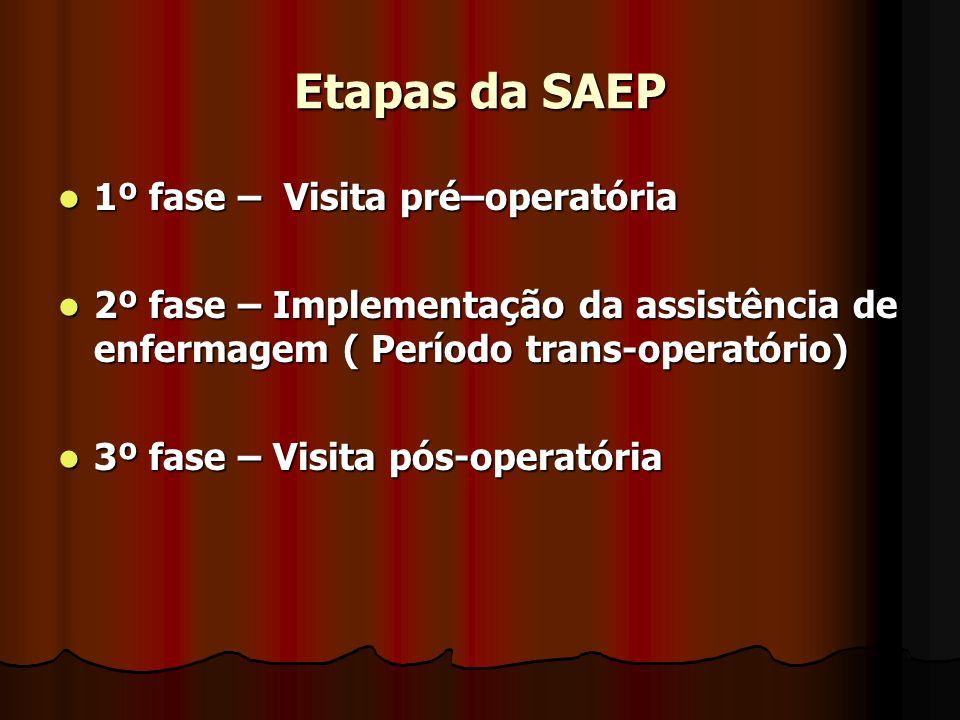 Etapas da SAEP 1º fase – Visita pré–operatória 1º fase – Visita pré–operatória 2º fase – Implementação da assistência de enfermagem ( Período trans-operatório) 2º fase – Implementação da assistência de enfermagem ( Período trans-operatório) 3º fase – Visita pós-operatória 3º fase – Visita pós-operatória