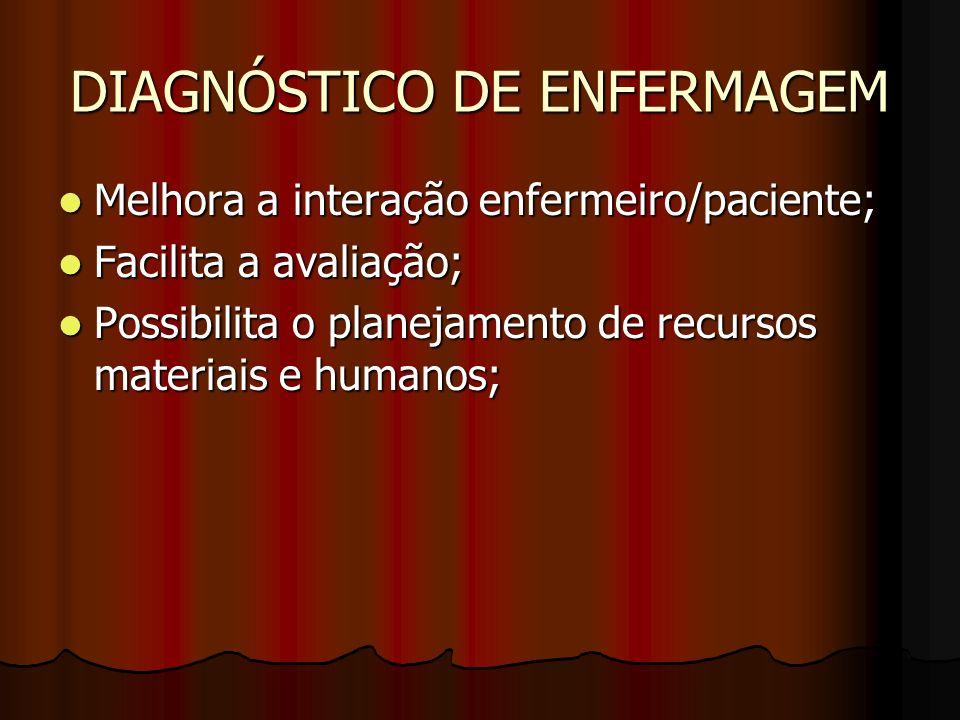 DIAGNÓSTICO DE ENFERMAGEM Possibilita a melhoria da qualidade da assistência de enfermagem; Possibilita a melhoria da qualidade da assistência de enfe