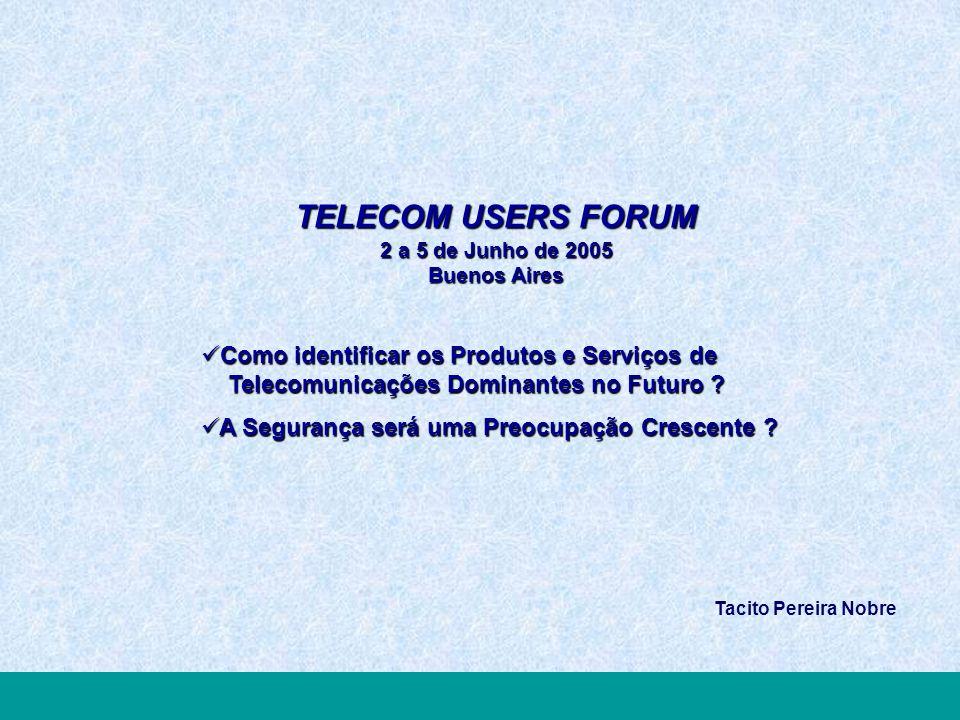TELECOM USERS FORUM2005 Inovar Valorizando Processos, Pessoas e Tecnologias TELECOM USERS FORUM 2 a 5 de Junho de 2005 Buenos Aires Como identificar os Produtos e Serviços de Telecomunicações Dominantes no Futuro .