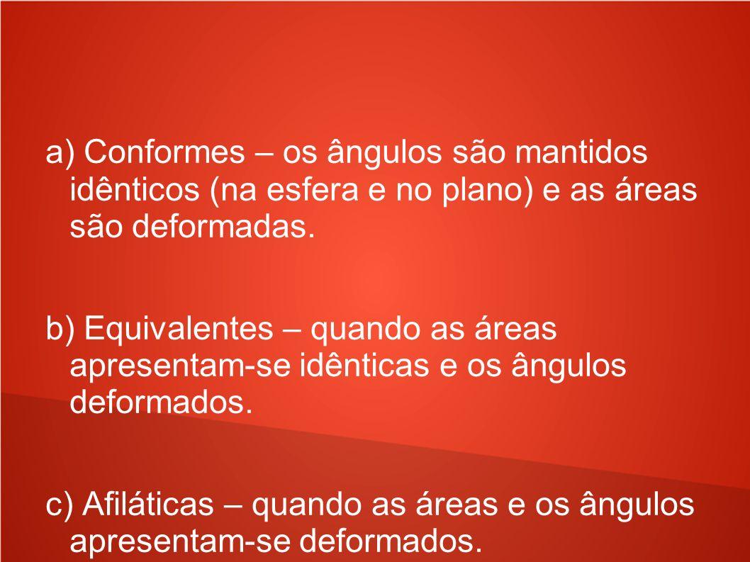 a) Conformes – os ângulos são mantidos idênticos (na esfera e no plano) e as áreas são deformadas. b) Equivalentes – quando as áreas apresentam-se idê