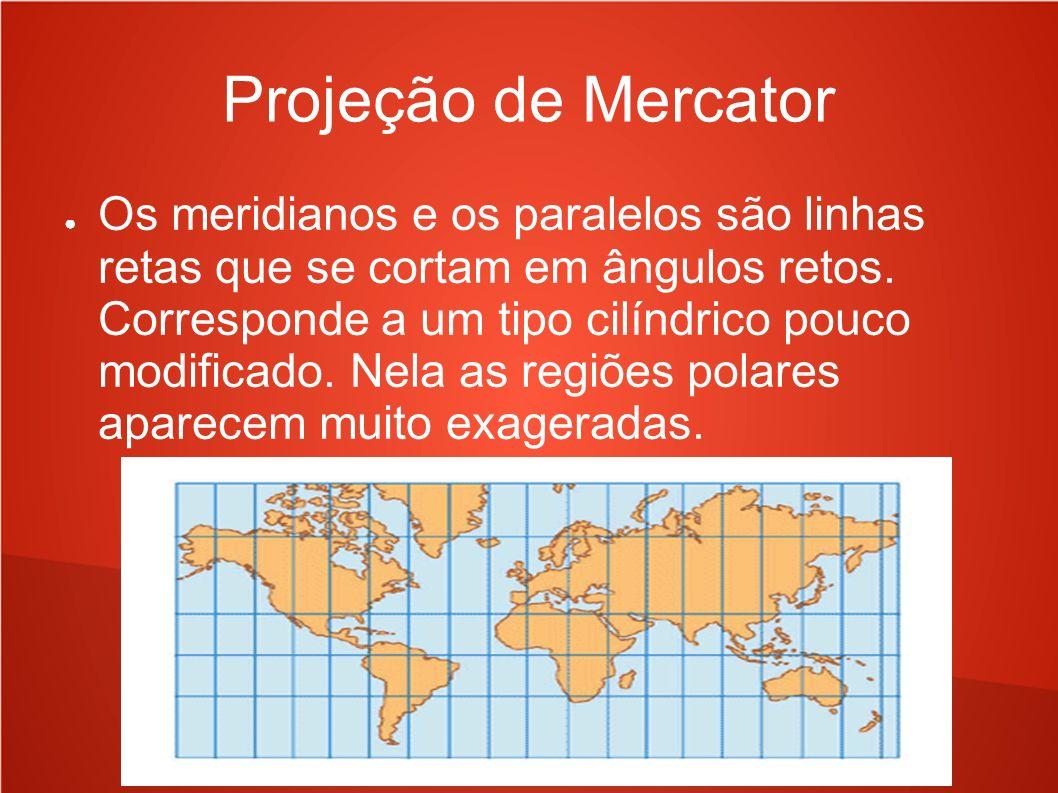 Projeção de Mercator Os meridianos e os paralelos são linhas retas que se cortam em ângulos retos. Corresponde a um tipo cilíndrico pouco modificado.