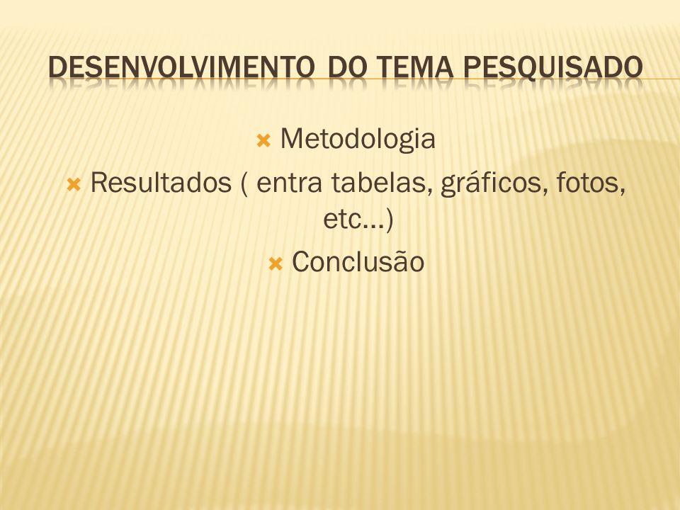 Metodologia Resultados ( entra tabelas, gráficos, fotos, etc...) Conclusão