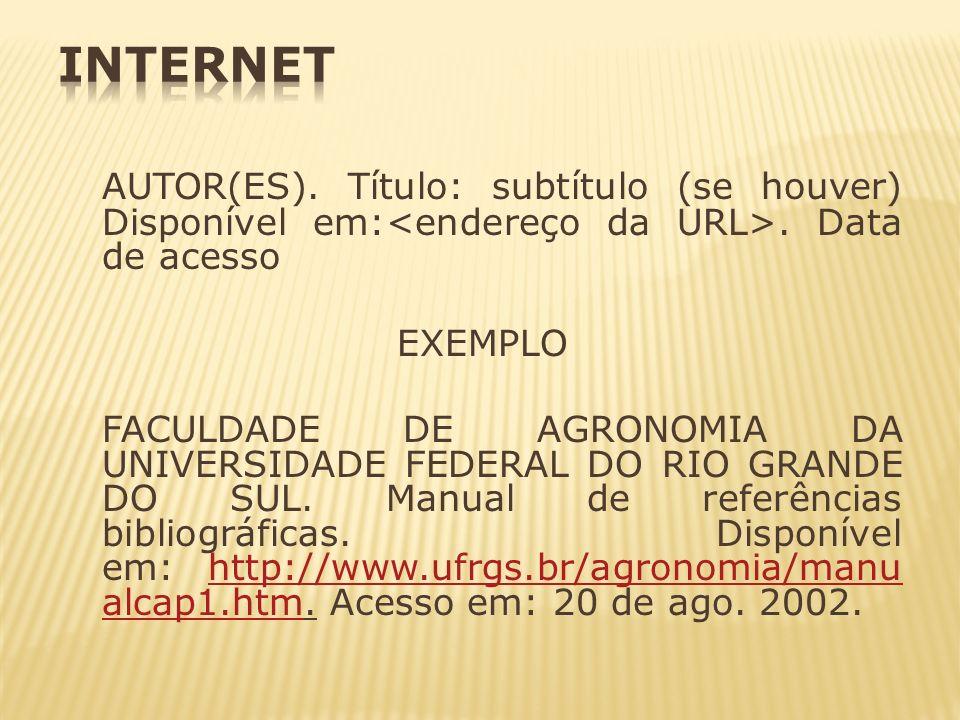 AUTOR(ES). Título: subtítulo (se houver) Disponível em:. Data de acesso EXEMPLO FACULDADE DE AGRONOMIA DA UNIVERSIDADE FEDERAL DO RIO GRANDE DO SUL. M