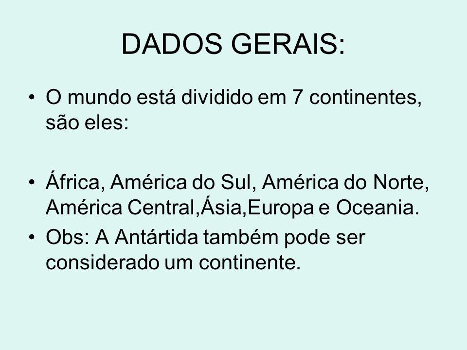DADOS GERAIS: O mundo está dividido em 7 continentes, são eles: África, América do Sul, América do Norte, América Central,Ásia,Europa e Oceania. Obs: