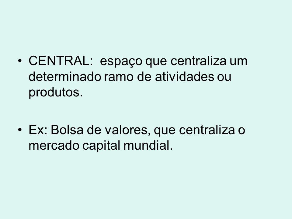 CENTRAL: espaço que centraliza um determinado ramo de atividades ou produtos. Ex: Bolsa de valores, que centraliza o mercado capital mundial.