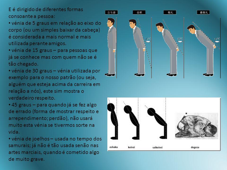 E é dirigido de diferentes formas consoante a pessoa: vénia de 5 graus em relação ao eixo do corpo (ou um simples baixar da cabeça) é considerada a ma