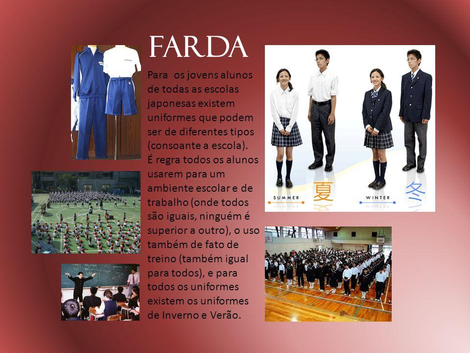 Farda Para os jovens alunos de todas as escolas japonesas existem uniformes que podem ser de diferentes tipos (consoante a escola). É regra todos os a
