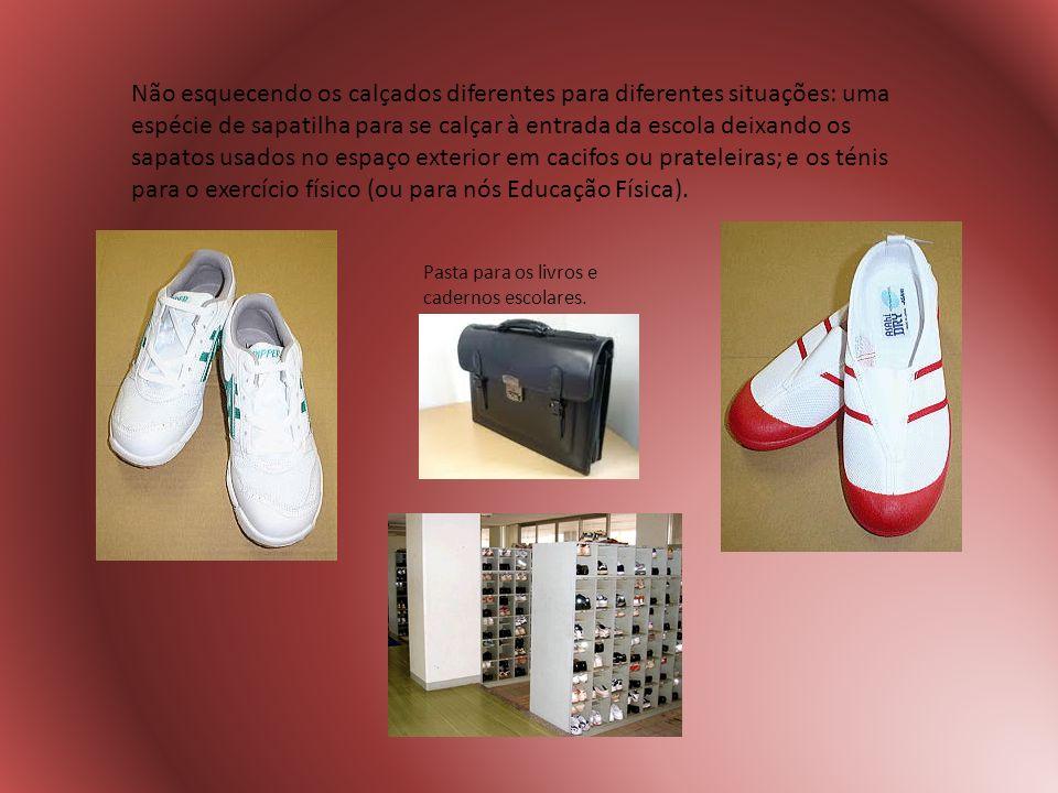 Não esquecendo os calçados diferentes para diferentes situações: uma espécie de sapatilha para se calçar à entrada da escola deixando os sapatos usado