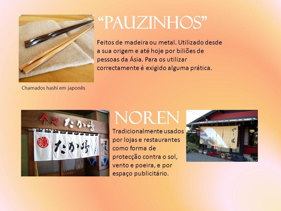 Pauzinhos Feitos de madeira ou metal. Utilizado desde a sua origem e até hoje por biliões de pessoas da Ásia. Para os utilizar correctamente é exigido