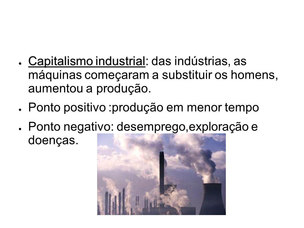 Capitalismo industrial Capitalismo industrial: das indústrias, as máquinas começaram a substituir os homens, aumentou a produção. Ponto positivo :prod