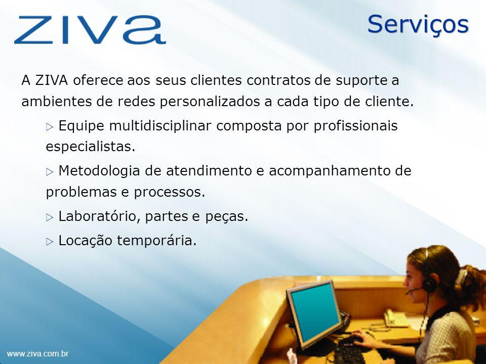 www.ziva.com.br10 Serviços A ZIVA oferece aos seus clientes contratos de suporte a ambientes de redes personalizados a cada tipo de cliente. Equipe mu