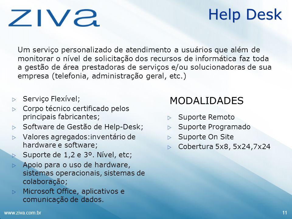 www.ziva.com.br11 Serviço Flexível; Corpo técnico certificado pelos principais fabricantes; Software de Gestão de Help-Desk; Valores agregados:inventá