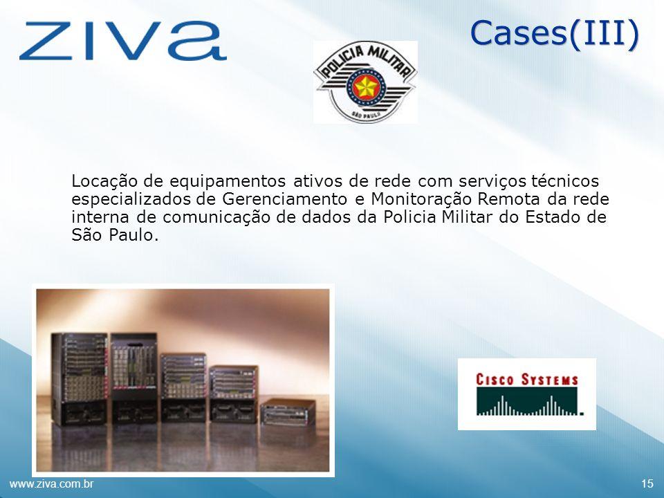 www.ziva.com.br15 Cases(III) Locação de equipamentos ativos de rede com serviços técnicos especializados de Gerenciamento e Monitoração Remota da rede