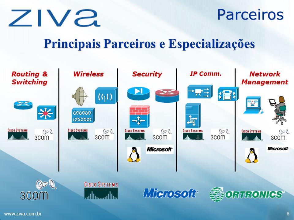 www.ziva.com.br6 Parceiros Principais Parceiros e Especializações Routing & Switching WirelessSecurity IP Comm. Network Management