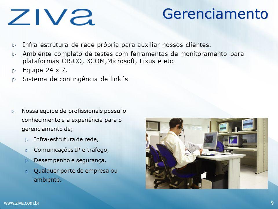 www.ziva.com.br9 Gerenciamento Infra-estrutura de rede própria para auxiliar nossos clientes. Ambiente completo de testes com ferramentas de monitoram