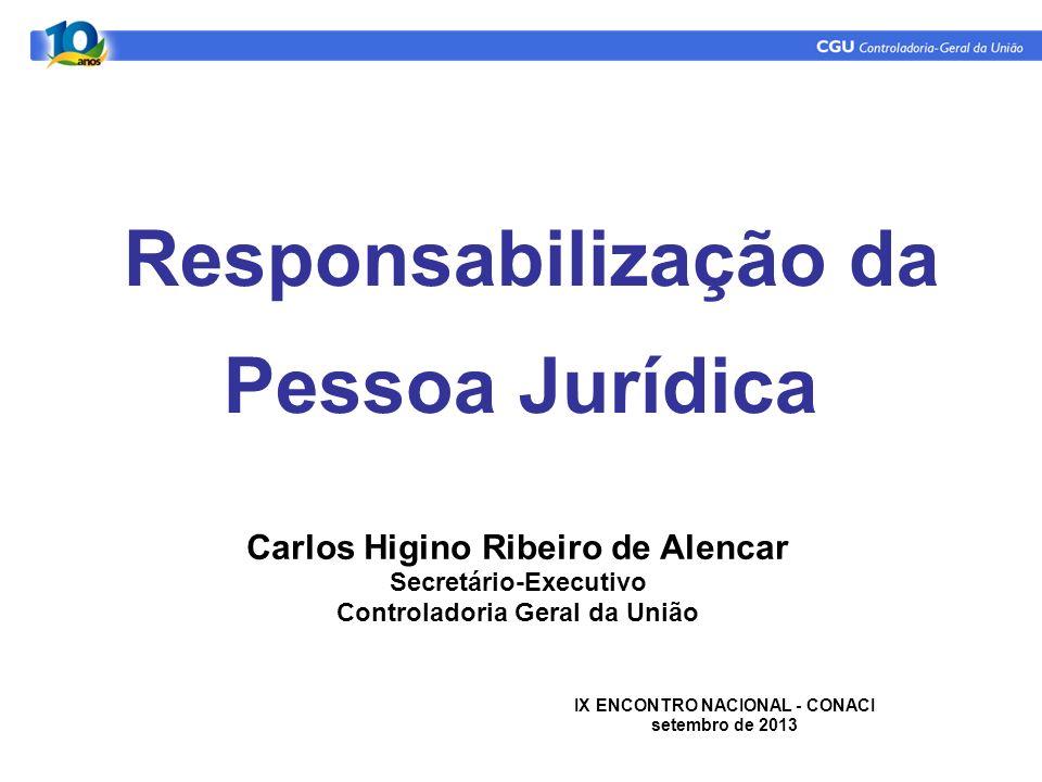 Responsabilização da Pessoa Jurídica Carlos Higino Ribeiro de Alencar Secretário-Executivo Controladoria Geral da União IX ENCONTRO NACIONAL - CONACI