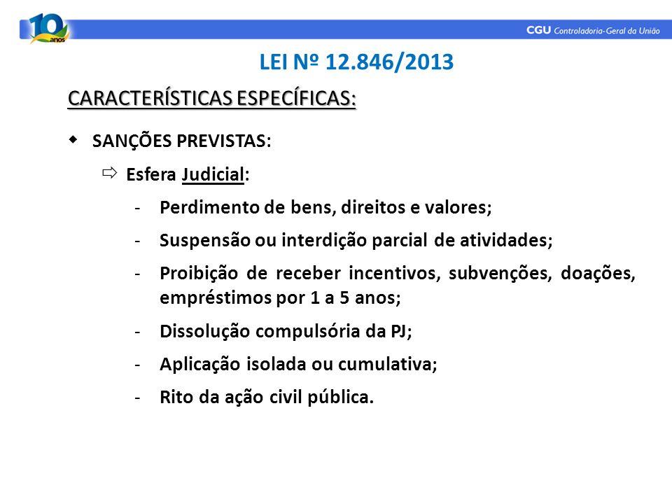 SANÇÕES PREVISTAS: Esfera Judicial: -Perdimento de bens, direitos e valores; -Suspensão ou interdição parcial de atividades; -Proibição de receber inc
