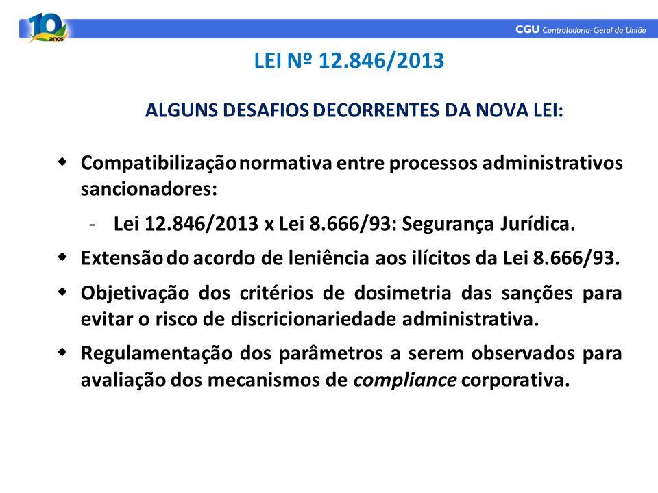 Compatibilização normativa entre processos administrativos sancionadores: -Lei 12.846/2013 x Lei 8.666/93: Segurança Jurídica. Extensão do acordo de l