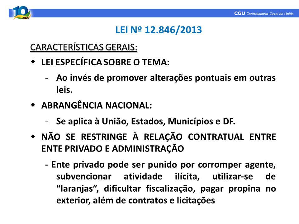 LEI Nº 12.846/2013 LEI ESPECÍFICA SOBRE O TEMA: -Ao invés de promover alterações pontuais em outras leis. ABRANGÊNCIA NACIONAL: -Se aplica à União, Es