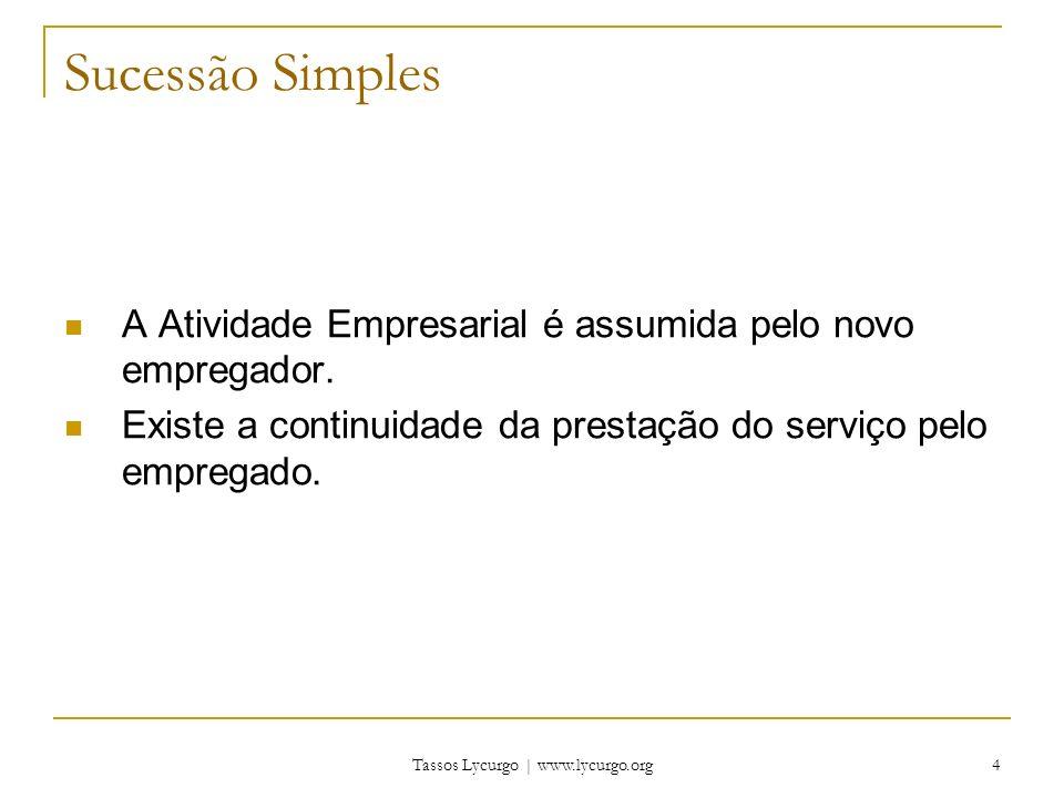 Tassos Lycurgo | www.lycurgo.org 4 Sucessão Simples A Atividade Empresarial é assumida pelo novo empregador.