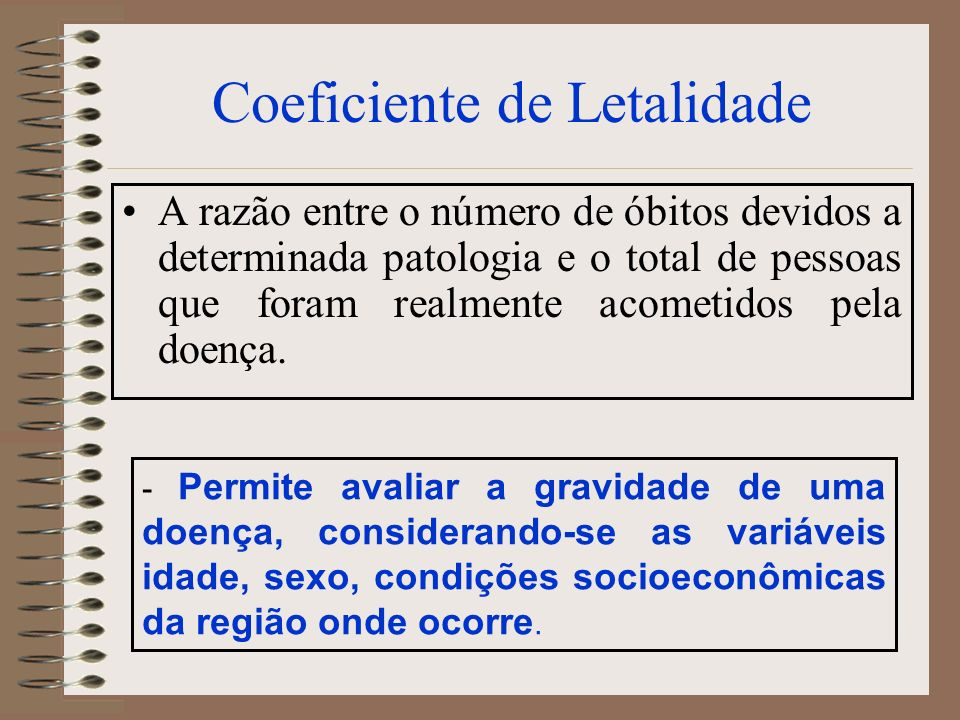 Coeficiente de Letalidade A razão entre o número de óbitos devidos a determinada patologia e o total de pessoas que foram realmente acometidos pela do